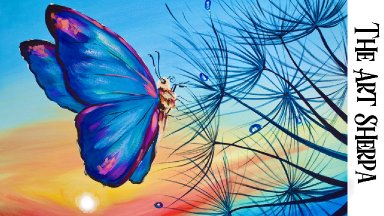 Healing Easy butterfly sunrise and Dandylion Acrylic painting tutorial  | TheArtSherpa