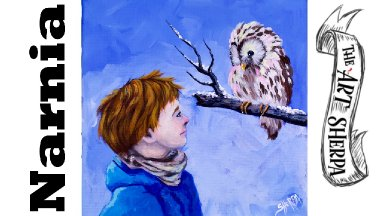 Boy and owl Talking in Snow Acrylic Painting Tutorial Narnia inspired   TheArtSherpa