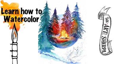 How to Watercolor a Winter White Fox scene