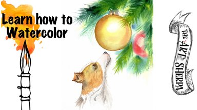 How to Watercolor A Sweet Dog and Christmas tree