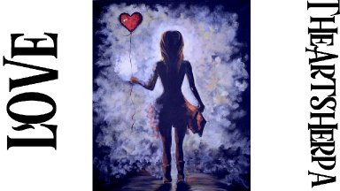 Romantic painting alone Girl with a Balloon heart Easy Acrylic Painting Tutorial | TheArtSherpa