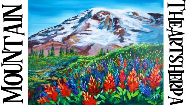 Wildflowers on a majestic mountain acrylic painting tutorial step by step      TheArtSherpa