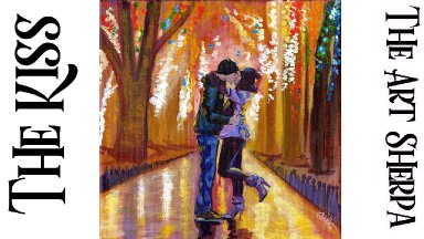 Romantic couple kissing Step by step Acrylic Tutorial   TheArtSherpa