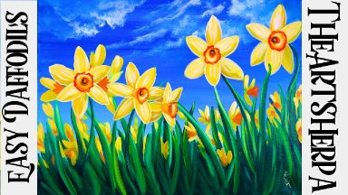 Daffodil Flower painting for Beginners step by step Acrylic tutorial  | TheArtSherpa