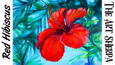 Easy Red hibiscus Tropical Step by step Acrylic tutorial   TheArtSherpa