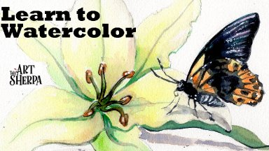How to Watercolor a Lily flower 🌺🧚♀️ and Butterfly step by step Live streaming class| The art Sherpa