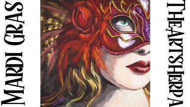 Romantic Mardi Gras Mask Step by Step Acrylic Tutorial | TheArtSherpa