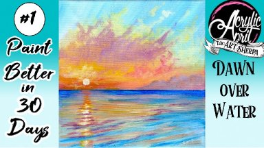 Easy Ocean Sunset Step by step Acrylic Tutorial Day 1 #AcrylicApril2021​ | TheArtSherpa