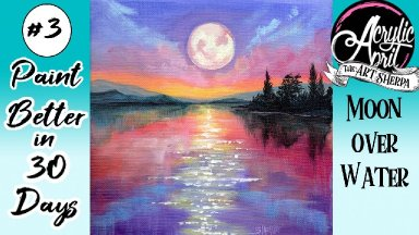 Easy Moonlight Lake Daily Painting Step by step Day 3 #AcrylicApril2021 | TheArtSherpa