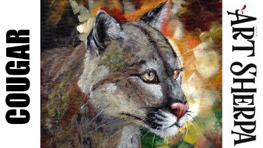 MOUNTAIN LION Beginners Learn to paint Acrylic Tutorial Step by Step