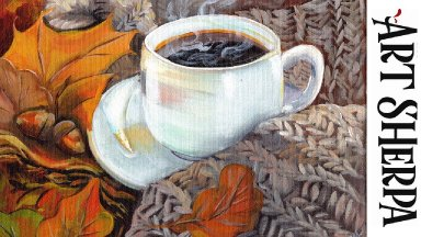 AUTUMN COFFEE Beginners Learn to paint Acrylic Tutorial Step by Step
