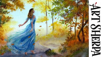 GIRL IN BLUE DRESS 2 Beginners Learn to paint Acrylic Tutorial Step by Step