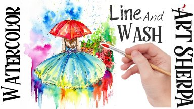 Line and Wash Umbrella Girl Garden Easy How to Paint Watercolor Step by step | The Art Sherpa