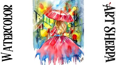 Girl in the Rain Red Dress Easy How to Paint Watercolor Line and Wash Step by step | The Art Sherpa