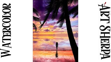 SUNSET BEACH Easy How to Paint Watercolor Step by step | The Art Sherpa