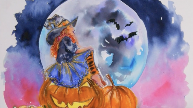 How to paint an Adorable Witch in Watercolor