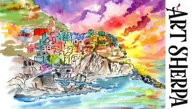 Manarola Village LINE and WASH Easy How to Paint Watercolor Step by step   The Art Sherpa