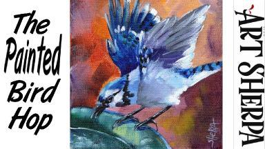 BLUE JAY BIRD BATH   Beginners Acrylic Tutorial Step by Step   The Painted Bird Hop