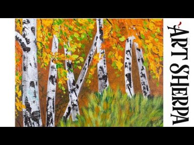 ABSTRACT EASY BIRCH TREES PALETTE KNIFE Beginners Learn to paint Acrylic Tutorial