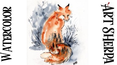 Easy DREAM FOX  line and wash  How to Paint Watercolor Step by step | The Art Sherpa