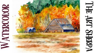 Fall Barn Expressive Easy How to Paint Watercolor Step by step | The Art Sherpa