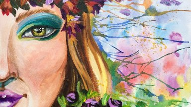 Flower Crown Girl Drip painting for Beginners Multimedia #10 #Aboutface