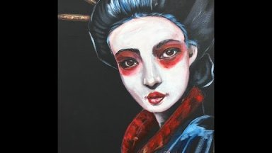 Geisha inspired painting lesson in Acrylic Paint  #5 About Face Big Art Quest