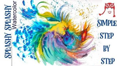 Simple Watercolor Step by step video Colorful Shaking Dog Art Sherpa
