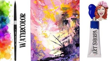 Simple Easy Pirate Shipwreck Abstract watercolor step by step The Art Sherpa