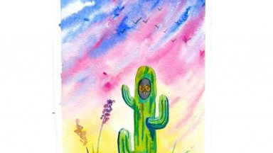 Large Cactus in the desert at Dawn with a little Owl WaterColor