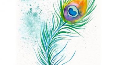 Learn to Watercolor peacock feather #artsherpa #WorldWatercolorMonth