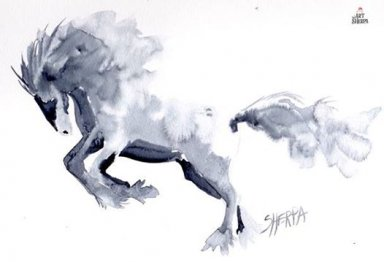 Running Horse Watercolor