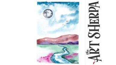 Watercolor Landscape- Valley Moon - IGTV