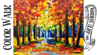Color Walk Forest Easy Acrylic painting techniques step by step  for beginners