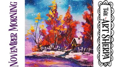 Fall Snow Landscape Easy Acrylic painting tutorial step by step Live Streaming