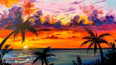 How to paint a Sunset Step by step in acrylic Free live painting party.