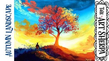 Easy Autumn Sunset  Landscape with fall  tree Acrylic painting tutorial step by step