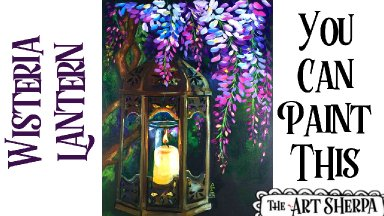 Wisteria  and glowing Lamp Easy Acrylic painting tutorial step by step Live Streaming