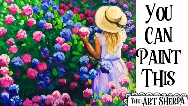 Little Girl Hydrangea Easy Acrylic painting tutorial step by step Live Streaming