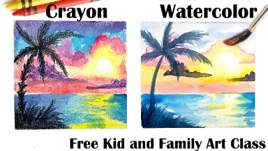 Family friendly Crayons and Watercolor How to paint EASY Tropical sunset