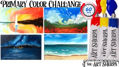 Primary colors Little landscapes Challenge  Easy Acrylic painting tutorial step by step