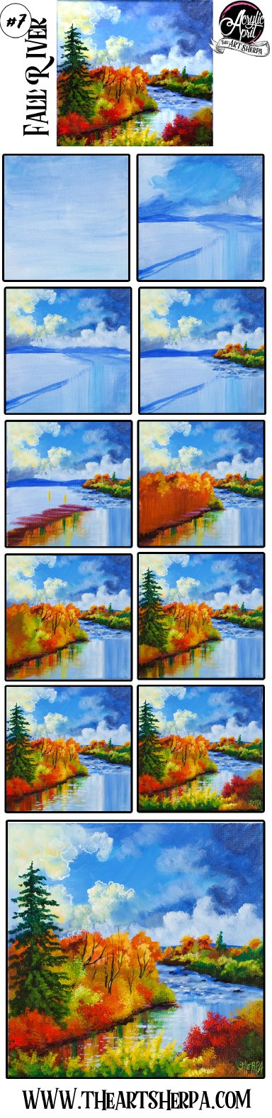 Easy How to paint  Autumn Landscape River Acrylic Tutorial Day 7 #AcrylicApril2021 | TheArtSherpa