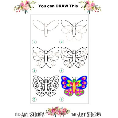 Little Brush step by step and coloring page butterfly
