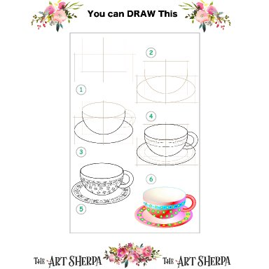 Little Brush step by step and coloring page Cup