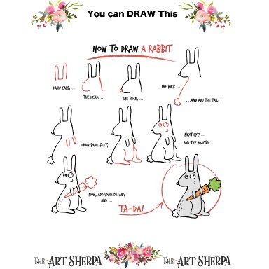 Little Brush step by step and coloring page Rabbit