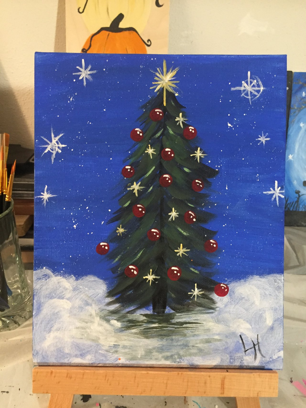 Simple Christmas Tree Step By Step Acrylic Painting On Canvas For Beginners The Art Sherpa