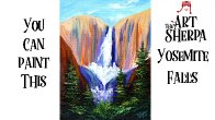 Yosemite Waterfall EASY Acrylic Painting Step by step