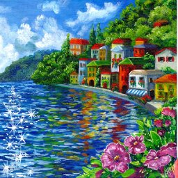 How to paint a Lake Como Waterfront Colorful Village