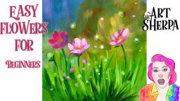 Easy Magical Meadow Flowers Step by step Acrylic tutorial| TheArtSherpa