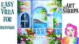 Easy village view with flowers step by step Acrylic
